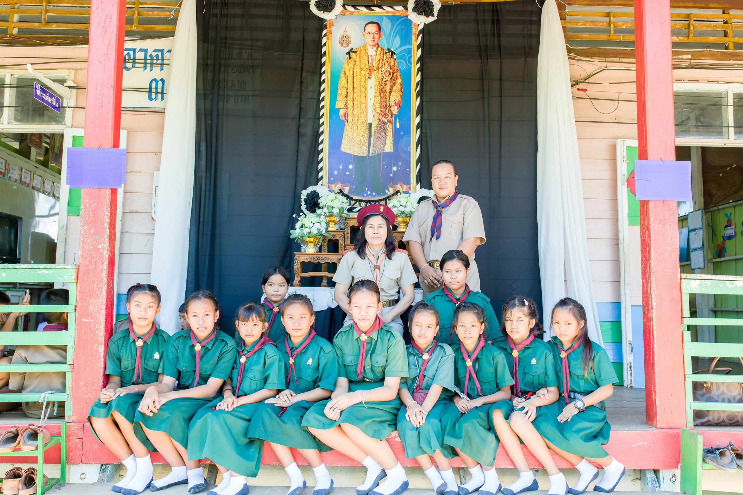 Khun Ked (in red beret) and some students at the Ban Sa Ngao school on Scout day.
