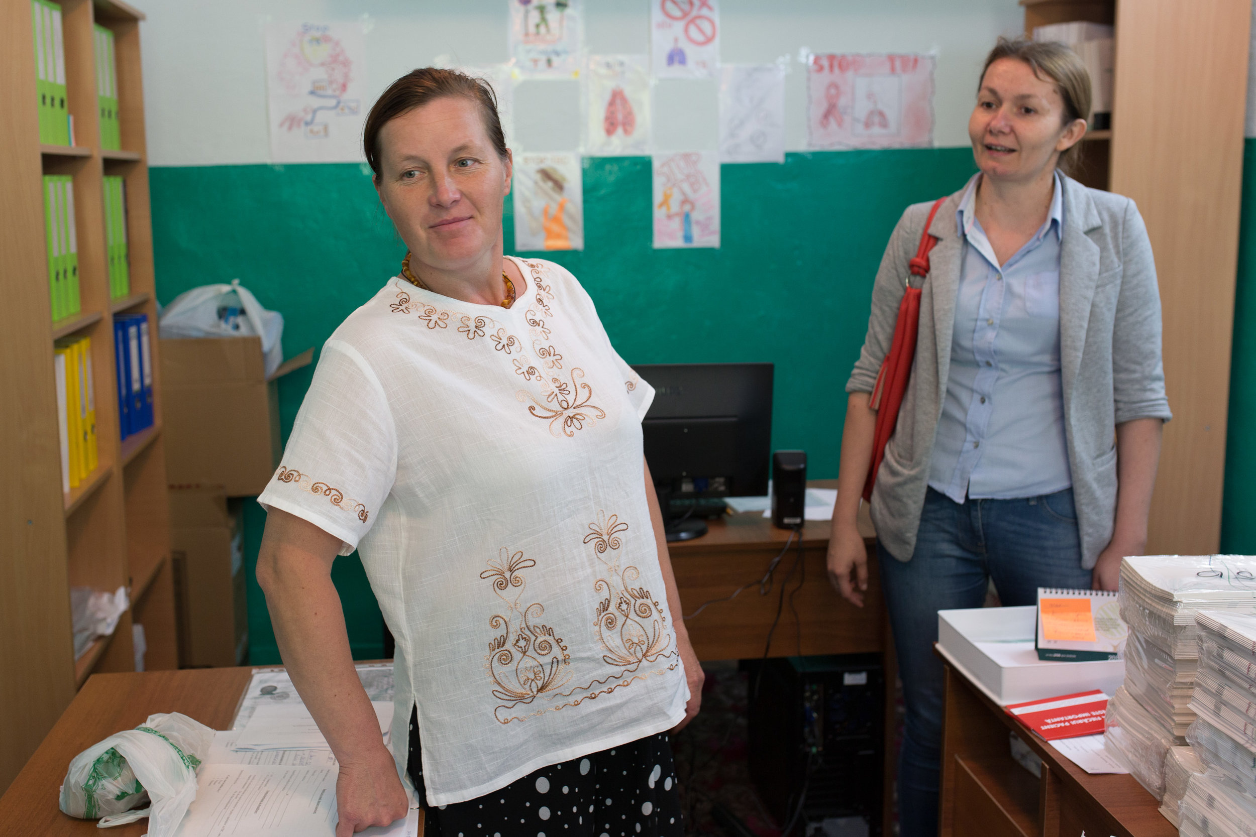 Olga (in white)and Ina in their Act for Involvement office in Anenii Noi district.