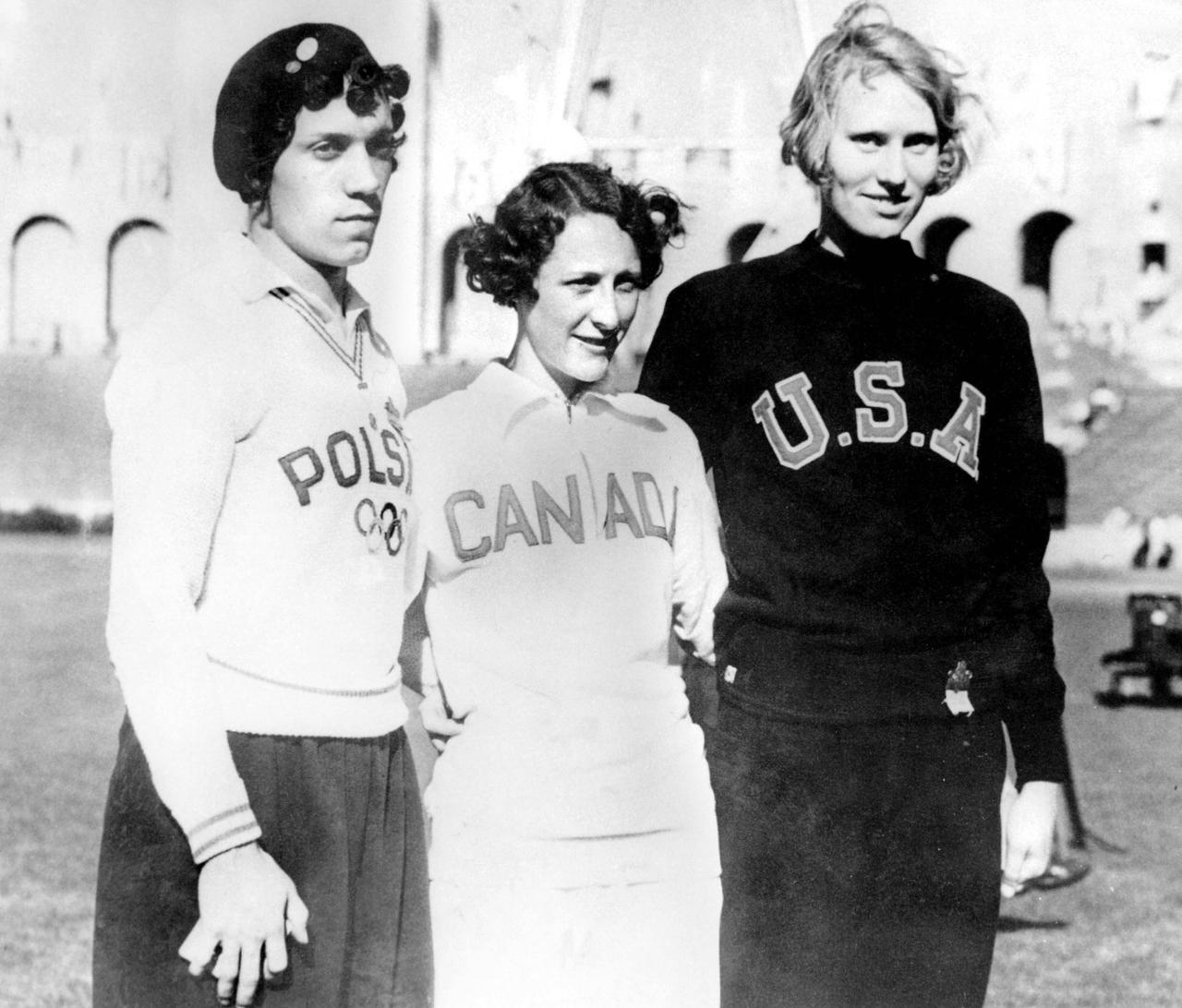 1932 Los Angeles Summer Olympics – Women's 100 metres medal winners - Poland's Stanisława Walasiewicz (Gold), Canada's Hilda Strike (Silver), and USA's Wilhelmina von Bremen (Bronze)