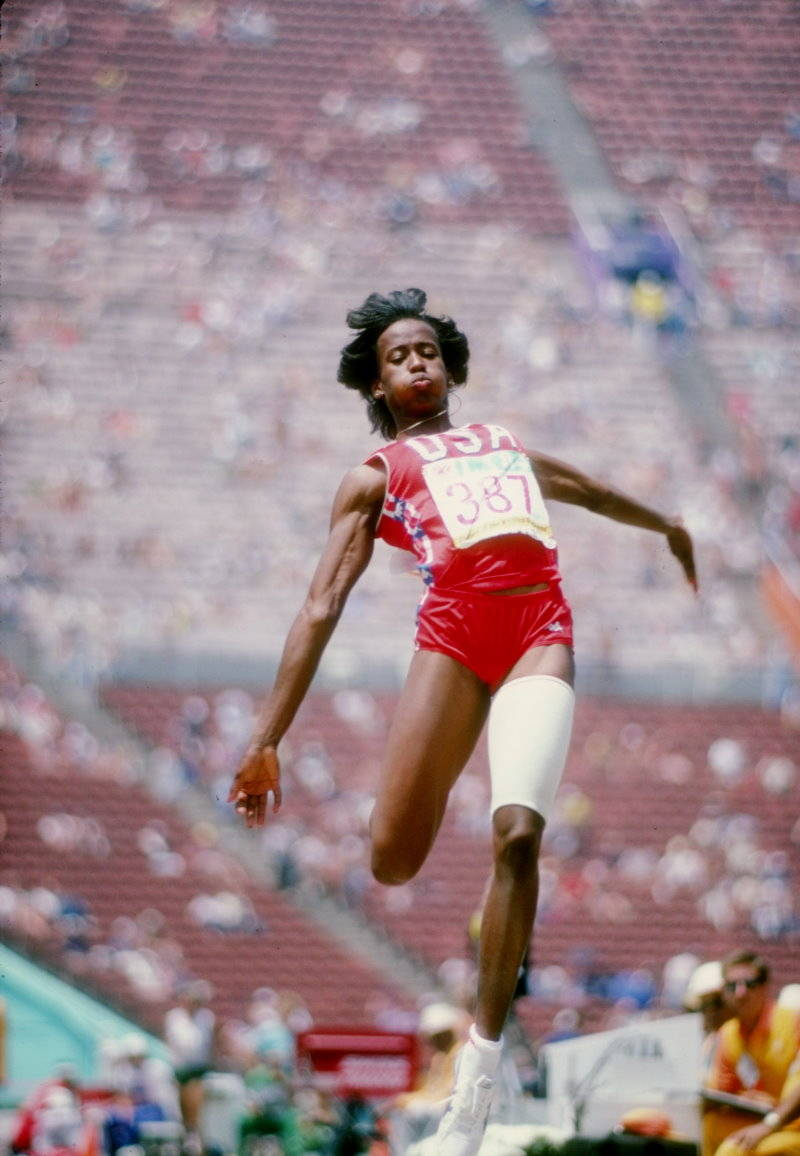 """Jacqueline """"Jackie"""" Joyner-Kersee , ranked among the all-time greatest athletes in the women's heptathlon as well as in the women's long jump."""