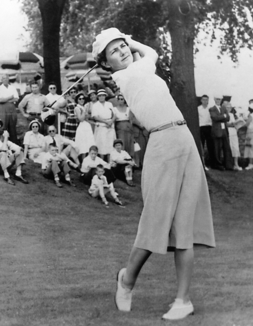 """One of the founders of the LPGA, Suggs' legendary golfing career included a landmark victory at the 1961 Palm Beach invitational, where she bested a field of twelve men. One of the golfers included Sam Snead, who still holds the record for most PGA tour victories. When Snead complained loudly about losing to a woman, Suggs, unimpressed, shot back: """"What are you so angry about? You didn't even finish second."""" Suggs was inducted into the World Golf Hall of Fame in 1979. The Louise Suggs Rookie of the Year Award is given out annually to the most accomplished first-year player on the LGPA tour."""