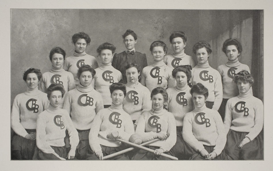 """""""Women's Baseball Team.""""  Cap and Gown  . Vol. 7, 1902. Archival Reference Collection."""