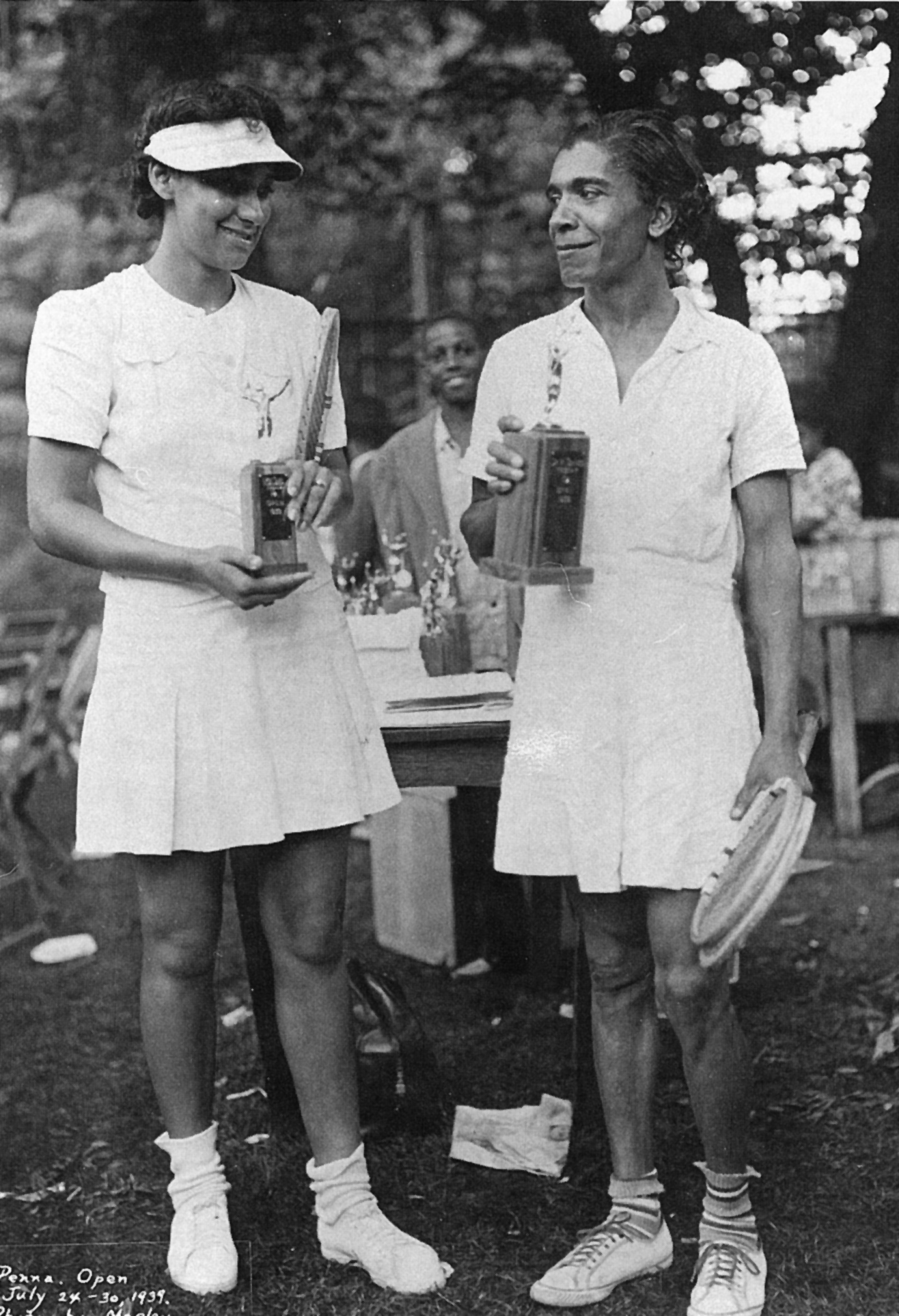 "Ora Wachington (right) was an American athlete from Philadelphia known as the ""Queen of Tennis."" In professional tennis she won American tennis Association's national singles title eight times in nine years between 1929 and 1937. Unable to compete against the top white tennis player of the time, Helen Moody, because Moody refused to play her she retired from sports in 1940. For the remainder of her life she supported herself as a housekeeper.  A state historical marker stands at the location of the YWCA that  she taught and played at in Philadelphia."