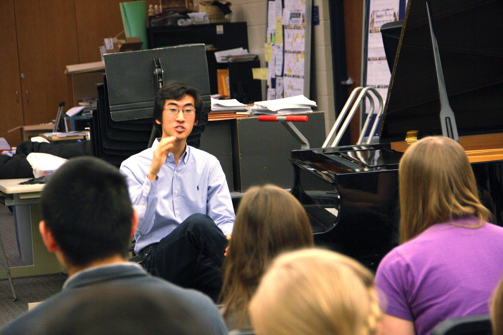 Speaking to students in Brookfield High School, Brookfield, WI