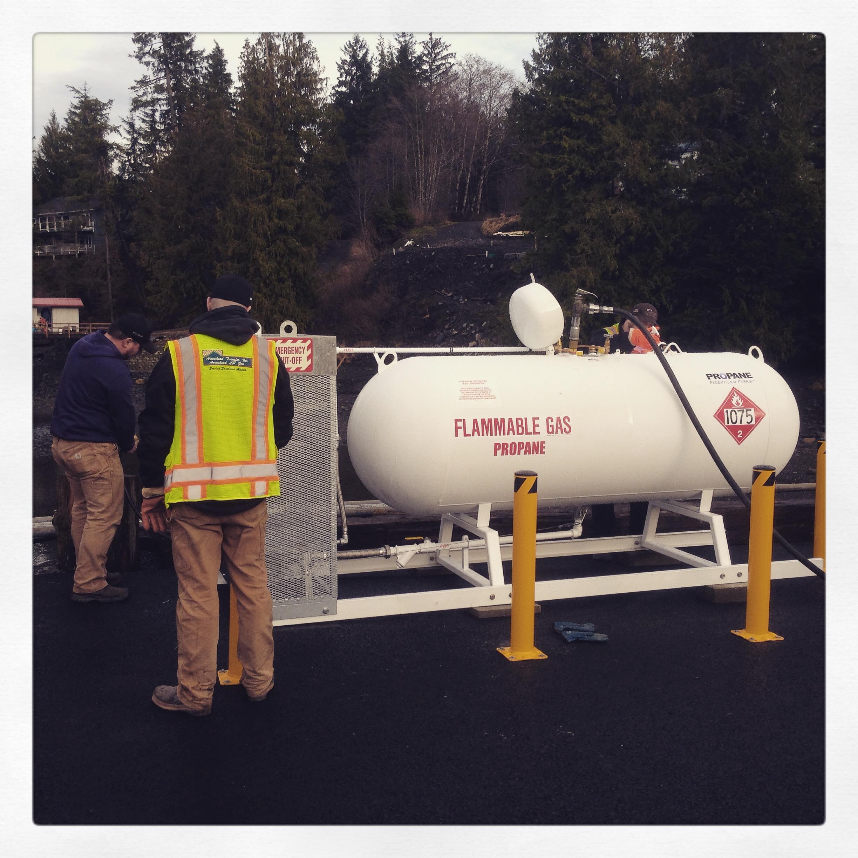 Pressure testing propane tank and dispenser.
