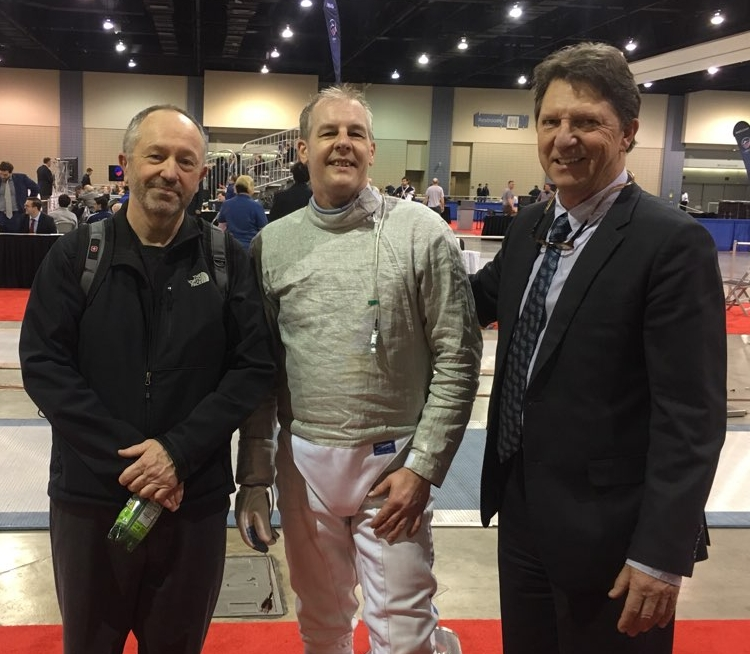 WFA veteran fencer Jeff Gueble, Coach Mark Lundborg, and Head Coach Atilio Tass.