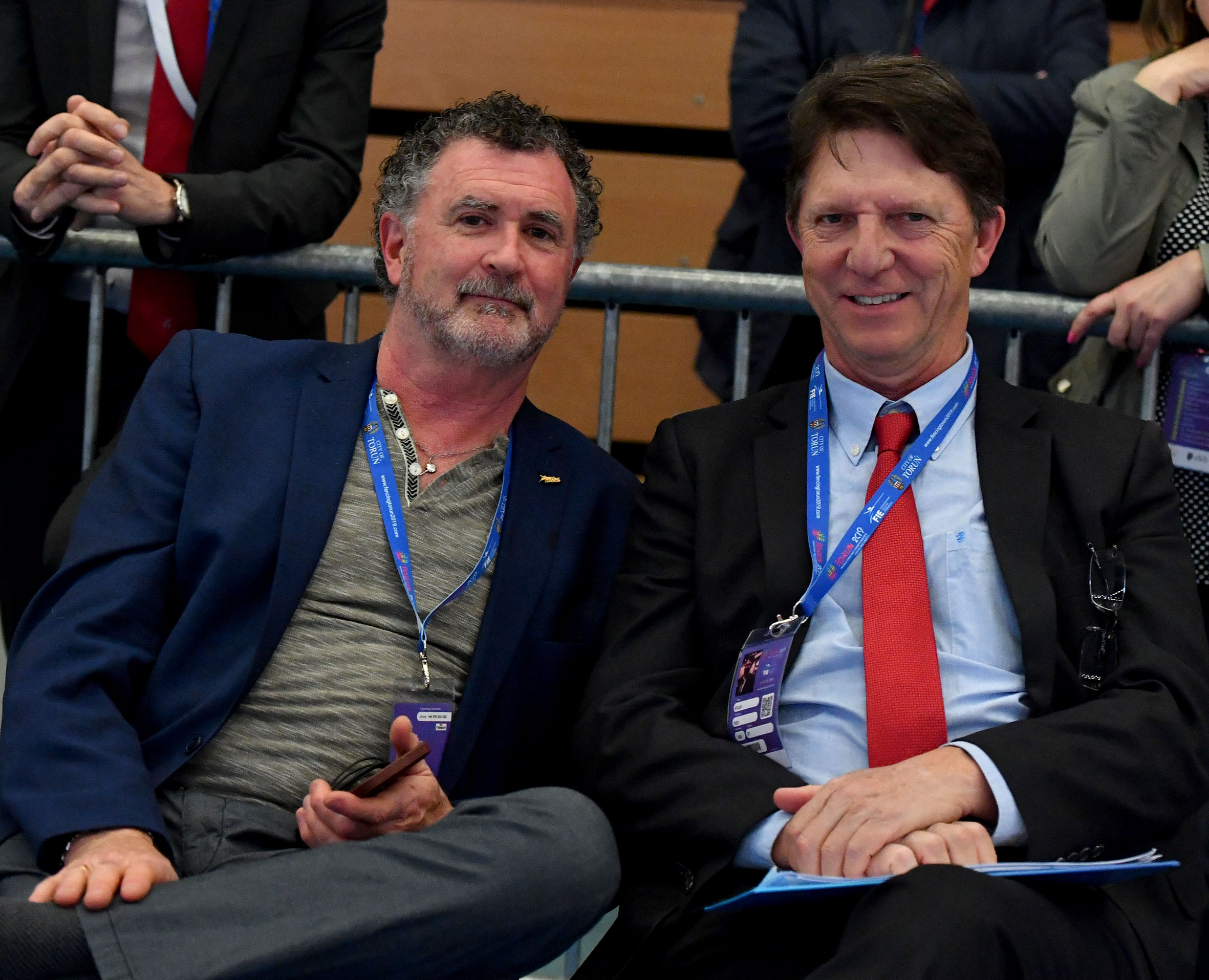 CEO Serge Timacheff and Head Coach Atilio Tass at the 2019 Junior and Cadet World Fencing Championships, in Torun, Poland.