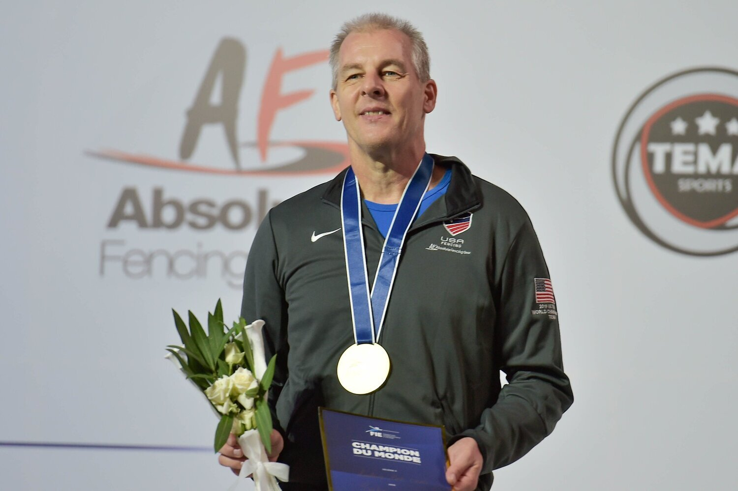 New world champion!  WFA's Mark Lundborg takes gold at the 2019 Veteran Fencing World Championships in the men's 50-59 saber division.