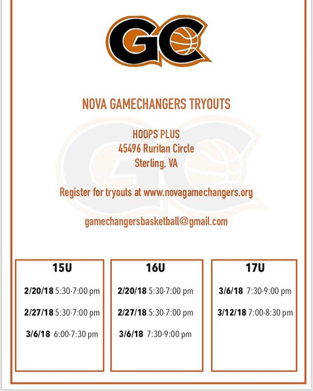 Be sure to register for tryouts at www.novagamechangers.org #GC