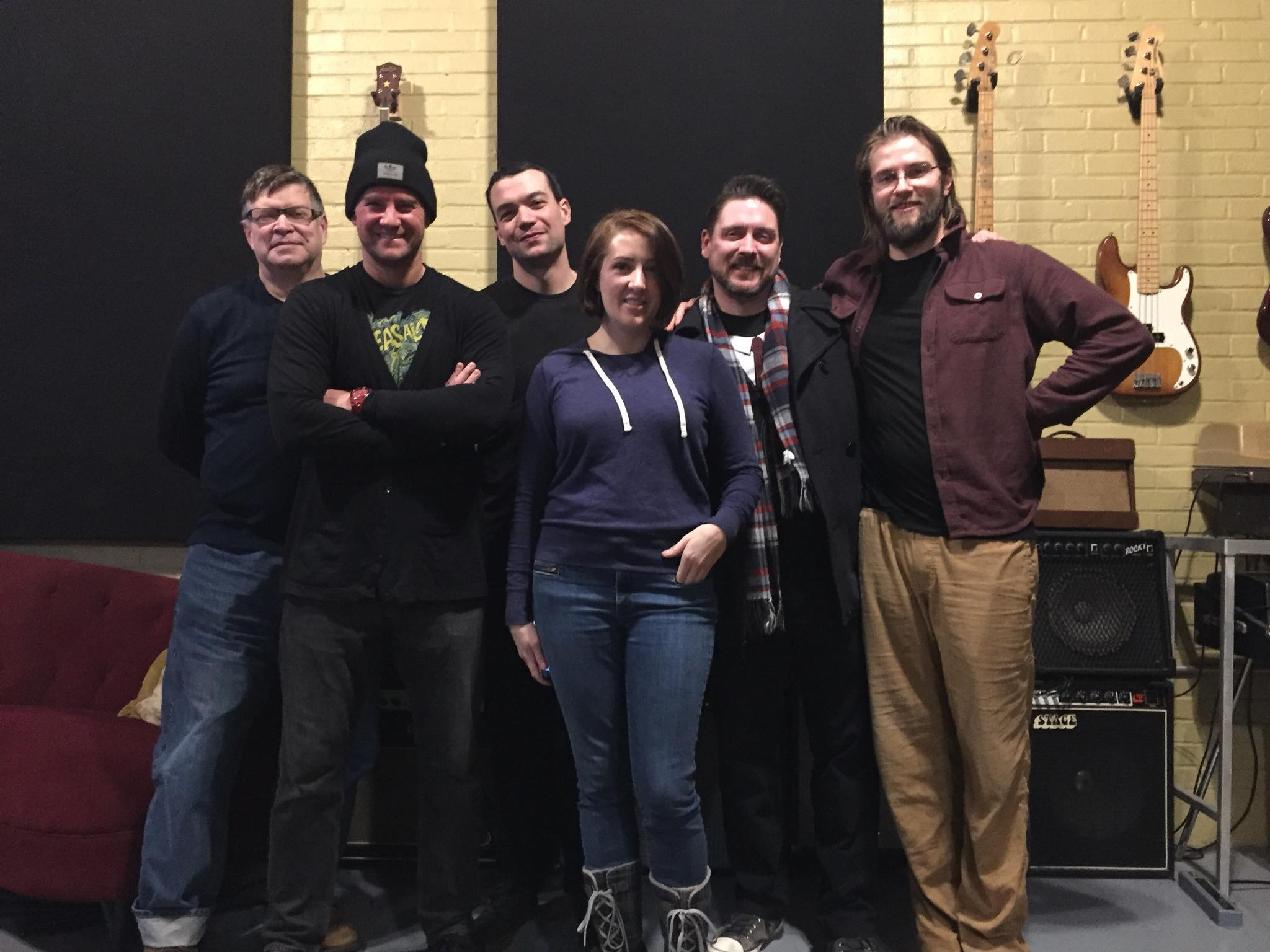 Cast and production team, from left: Joel Thingvall, Douglas Sidney, Tony Williamette, Billie Jo Konze, Chad David, and Paul Christian. (Some cast not present for this photo)