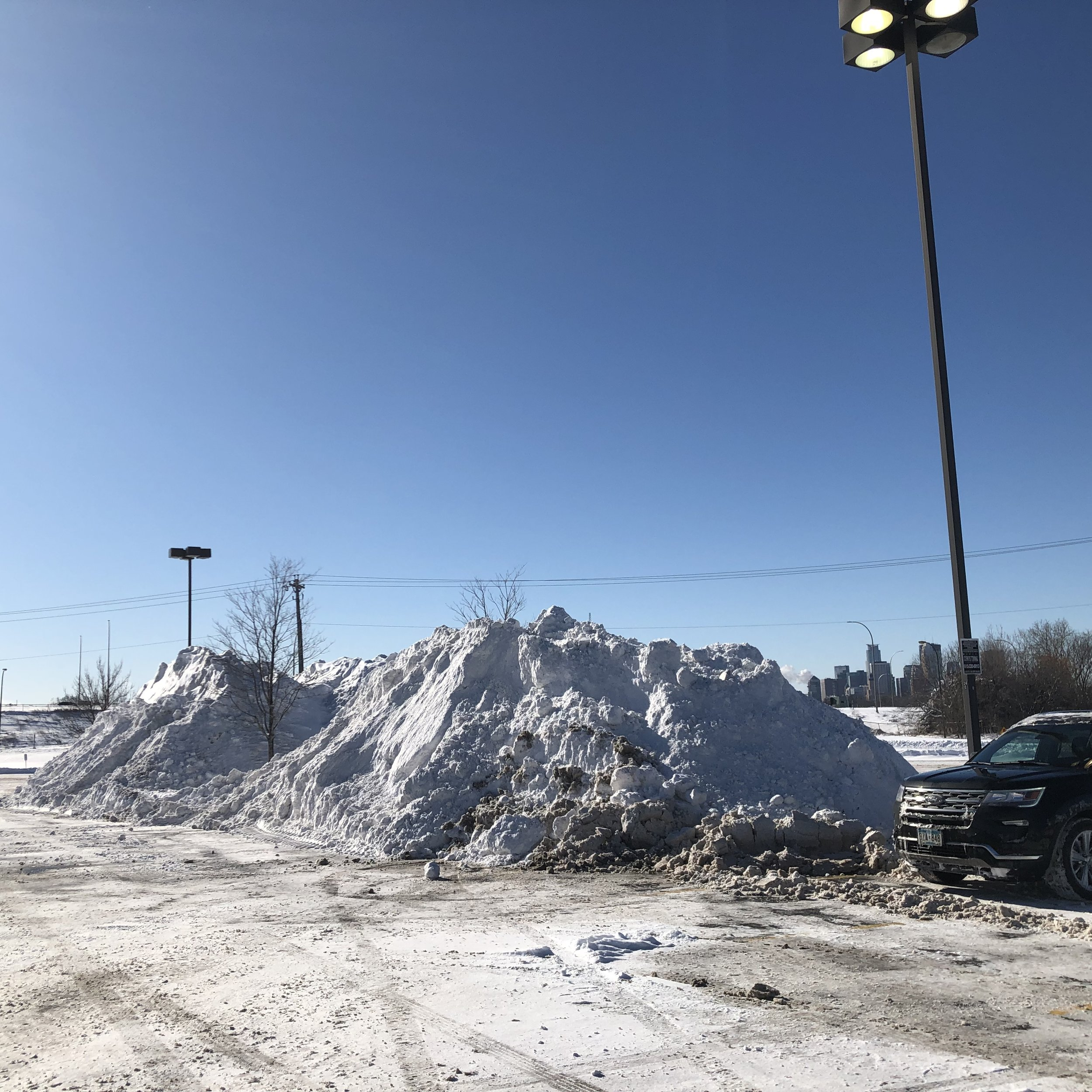 Minnesota is so flat, we have to build our own mountains out of the massive amounts of snow that fall from our cold, gray skies