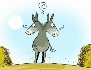 The donkey who could not decide.  Source