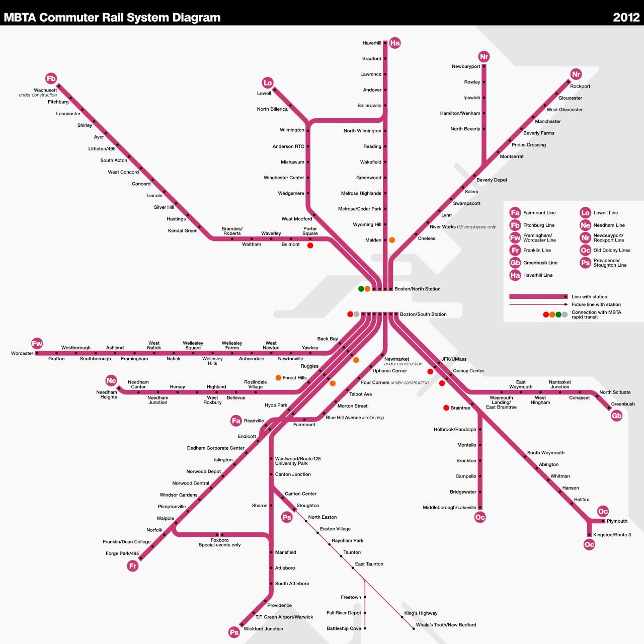 The Commuter Rail system in the Greater Boston area. Source:https://en.wikipedia.org/wiki/MBTA_Commuter_Rail