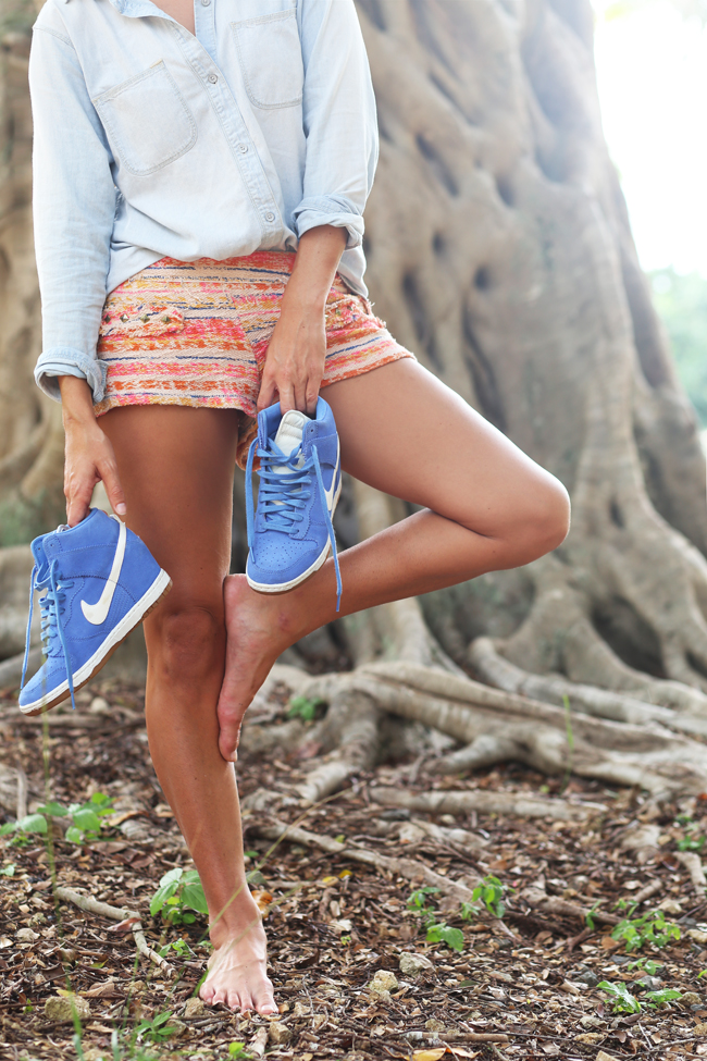 Chambray Top:  Madewell , Shorts:  Zara  (old), Kicks:  Nike