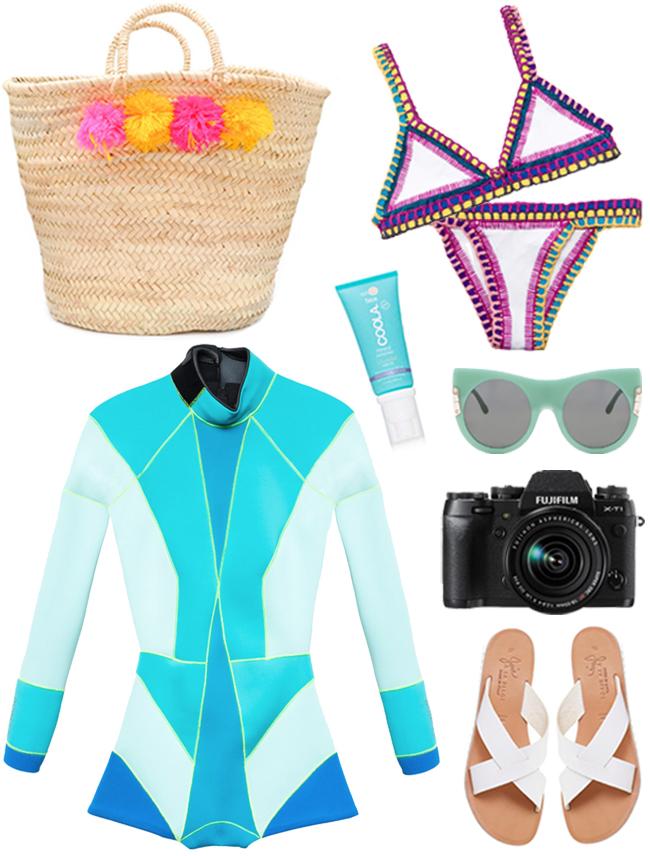 Basket:  Eliza Gran , Swimsuit:  Kiini , Wetsuit:  Cynthia Rowley , Sunscreen:  Coola * (DEAL), Sunglasses:  Stella McCartney , Camera:  Fujifilm , Sandals:  Joie