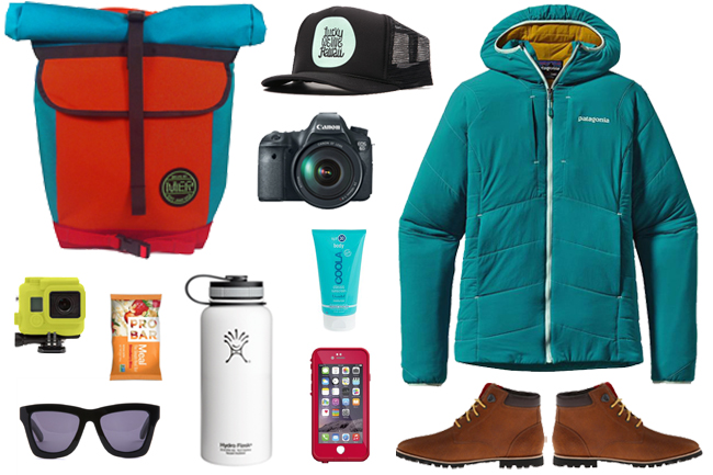 Backpack:  Mer Bags  , Hat:  Lucky We Live Hawaii , Camera: Canon 6D, Jacket:  Patagonia Nano-Air , Boots:  Woolrich , Iphone Case:  Lifeproof , Sunscreen: Coola, Water Container:  Hydroflask , Sunglasses: Valley Eyewear, Snack: Pro Bar, Waterproof Camera: GoPro (with  silicon Incase )