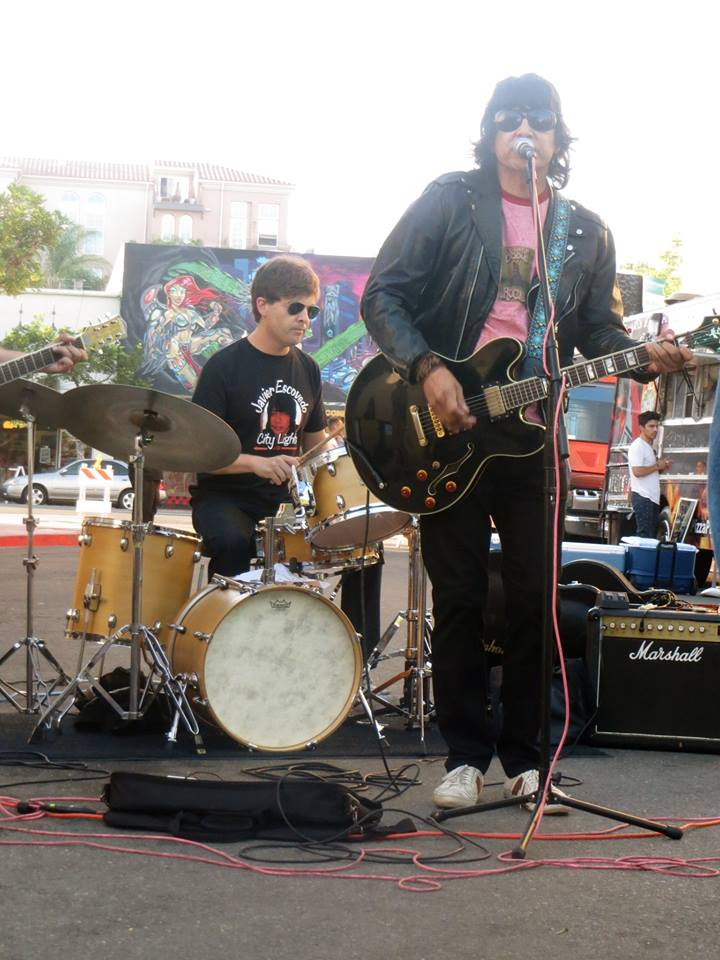 Javier Escovedo and the City Lights performing at Ray at Night. Pictured: Javier Escovedo and Anders Larsson. (Photo by my little sister, Catie)