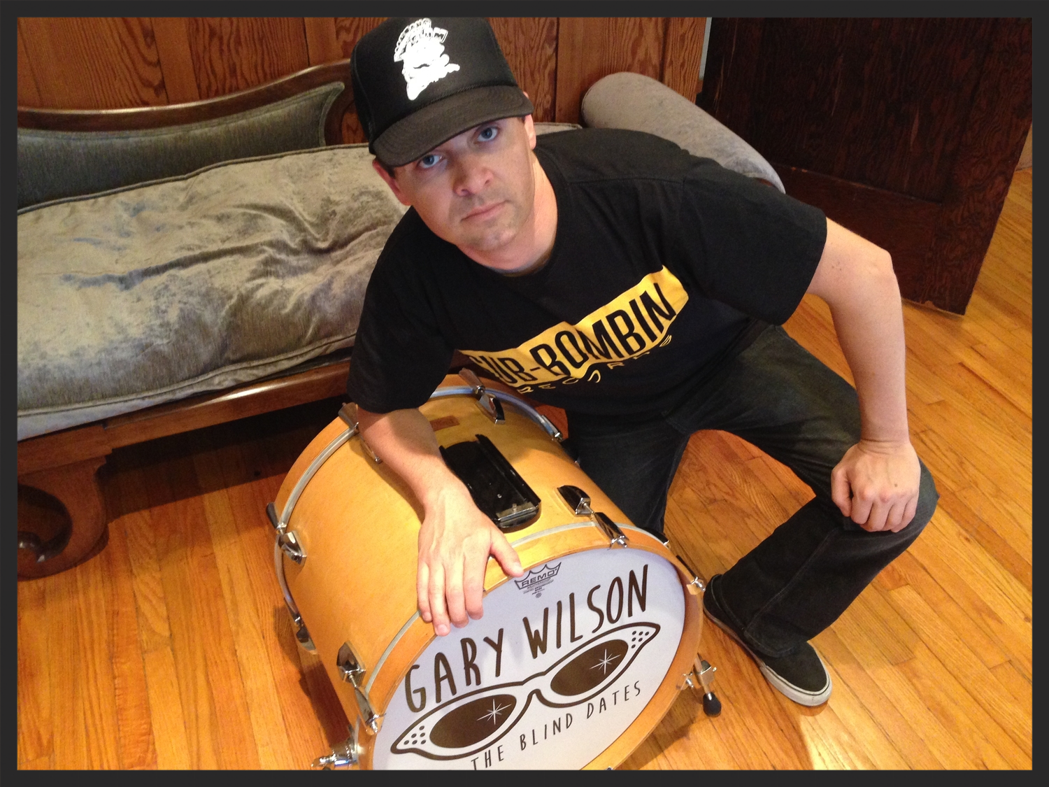 Ready to rock with my Poontang Clam hat, Sub-Bombin t-shirt, and Gary Wilson drum!