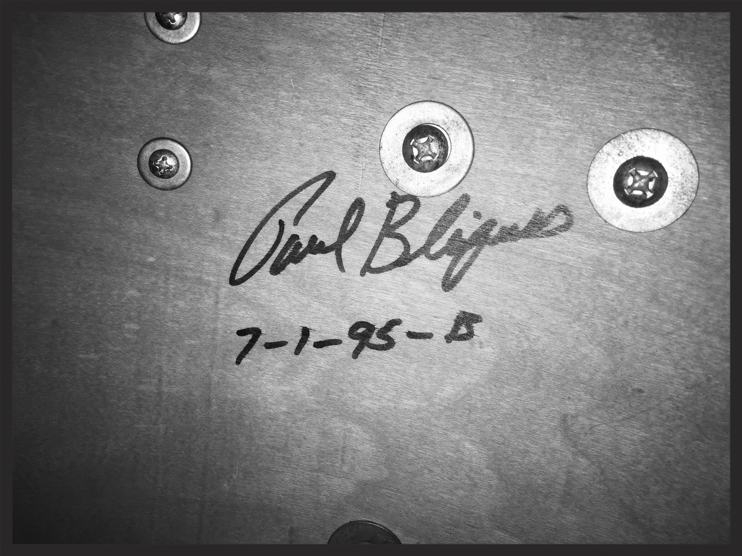 Paul signed the inside of each drum he made. This is the signature inside my bass drum, showing that the kit will indeed turn twentyyears old this year!
