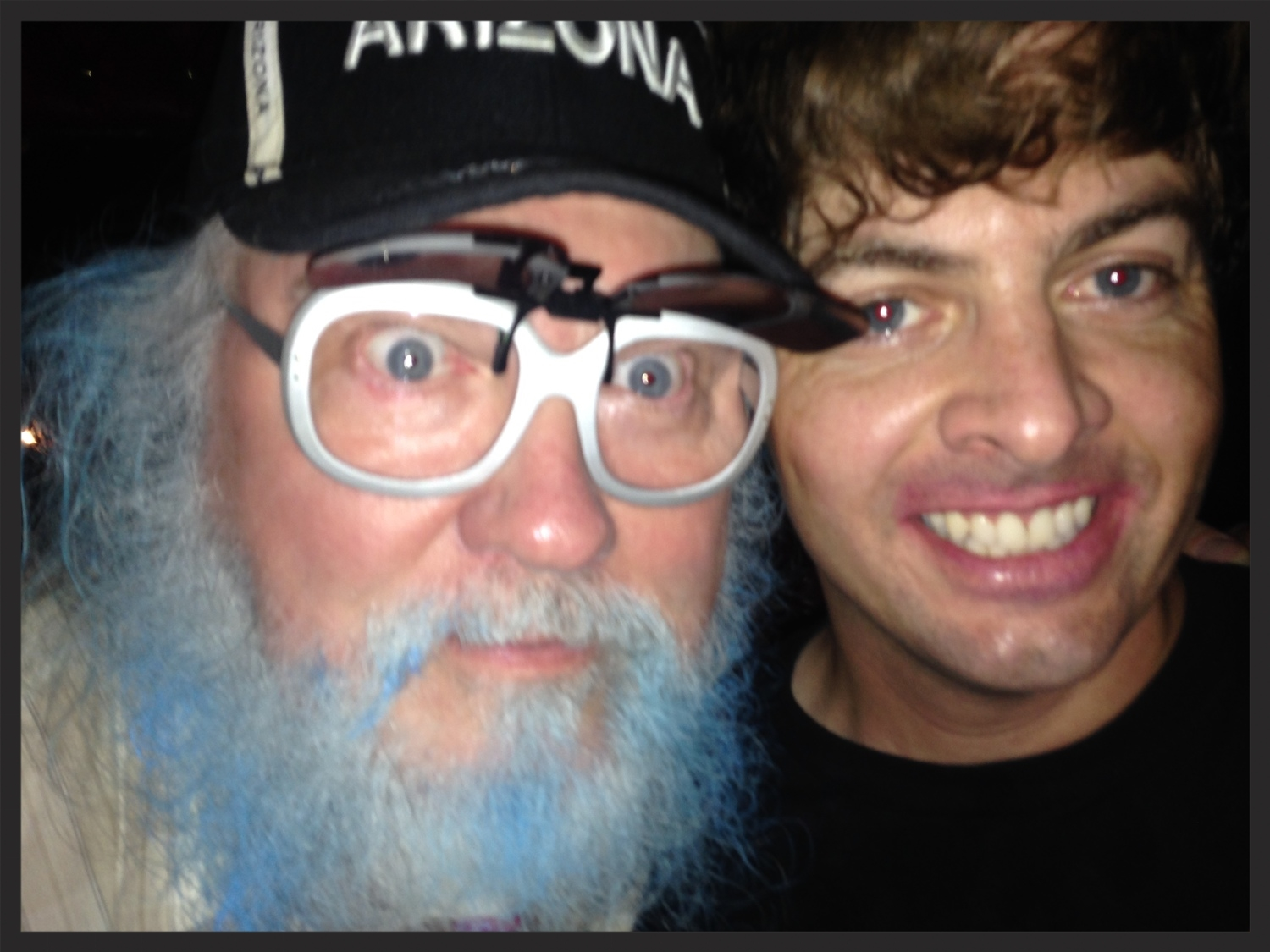 R. Stevie Moore and me at the Burger Records Labor Labor Day Fest in 2014. Forgive my disheveled appearance -- I'd just gotten off stage after a spirited Gary Wilson and the Blind Dates set!