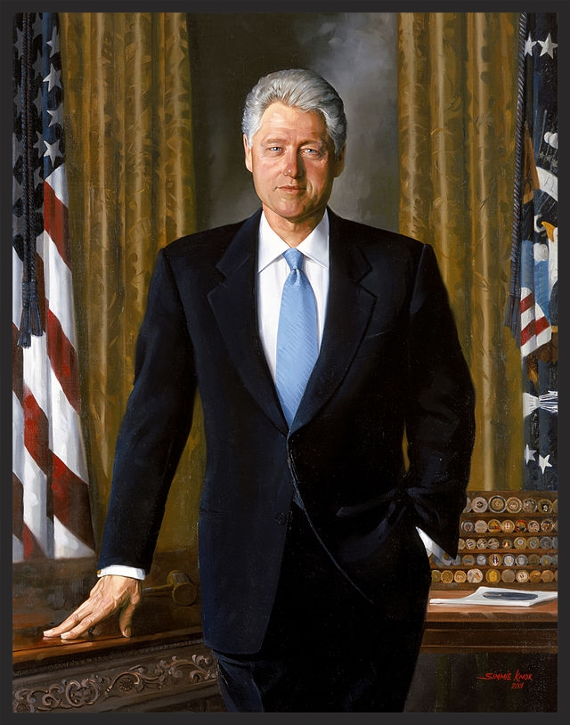 Former President Bill Clinton's official portrait includes his challenge coin collection in the background.