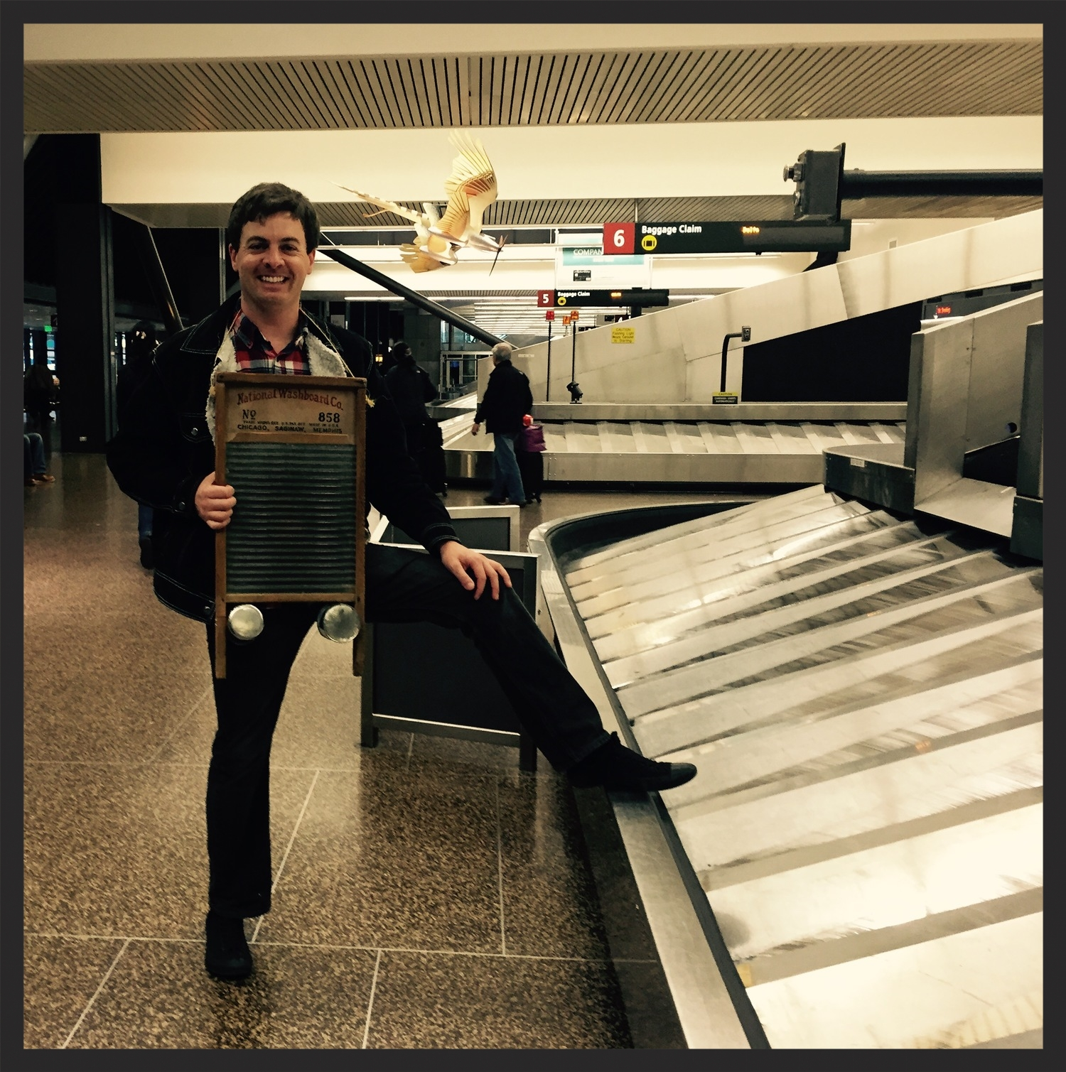 Safely arrived at the airport in Seattle, armed and ready with my washboard.