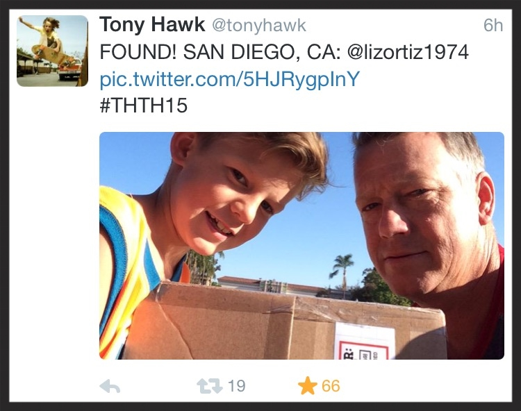 The lucky winner and his dad, seconds after finding the box