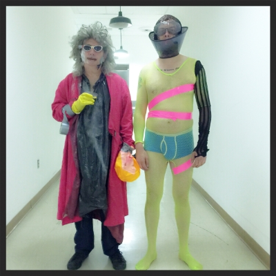 Gary Wilson and me backstage at the San Diego Art Institute, pre-show.