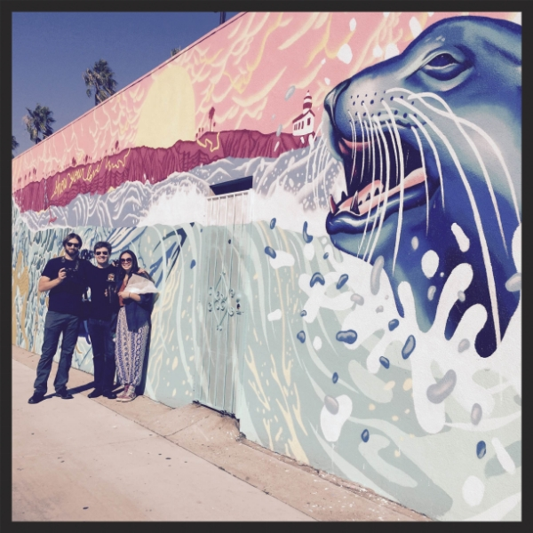 Joshua Emerson Smith, Celeste Beyers, and me in front of one of Celeste's most recent murals. Photo by Galina Betker, 2015