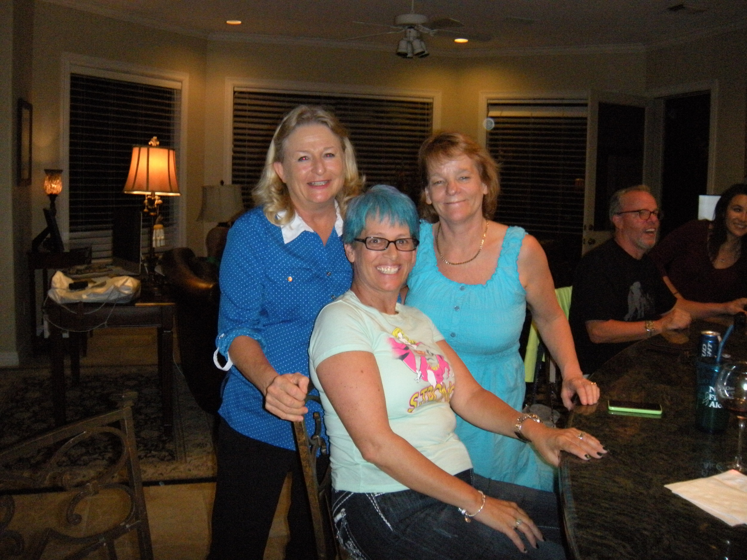 Betty, Keri, and Heidi. The shades of blue look good on them.