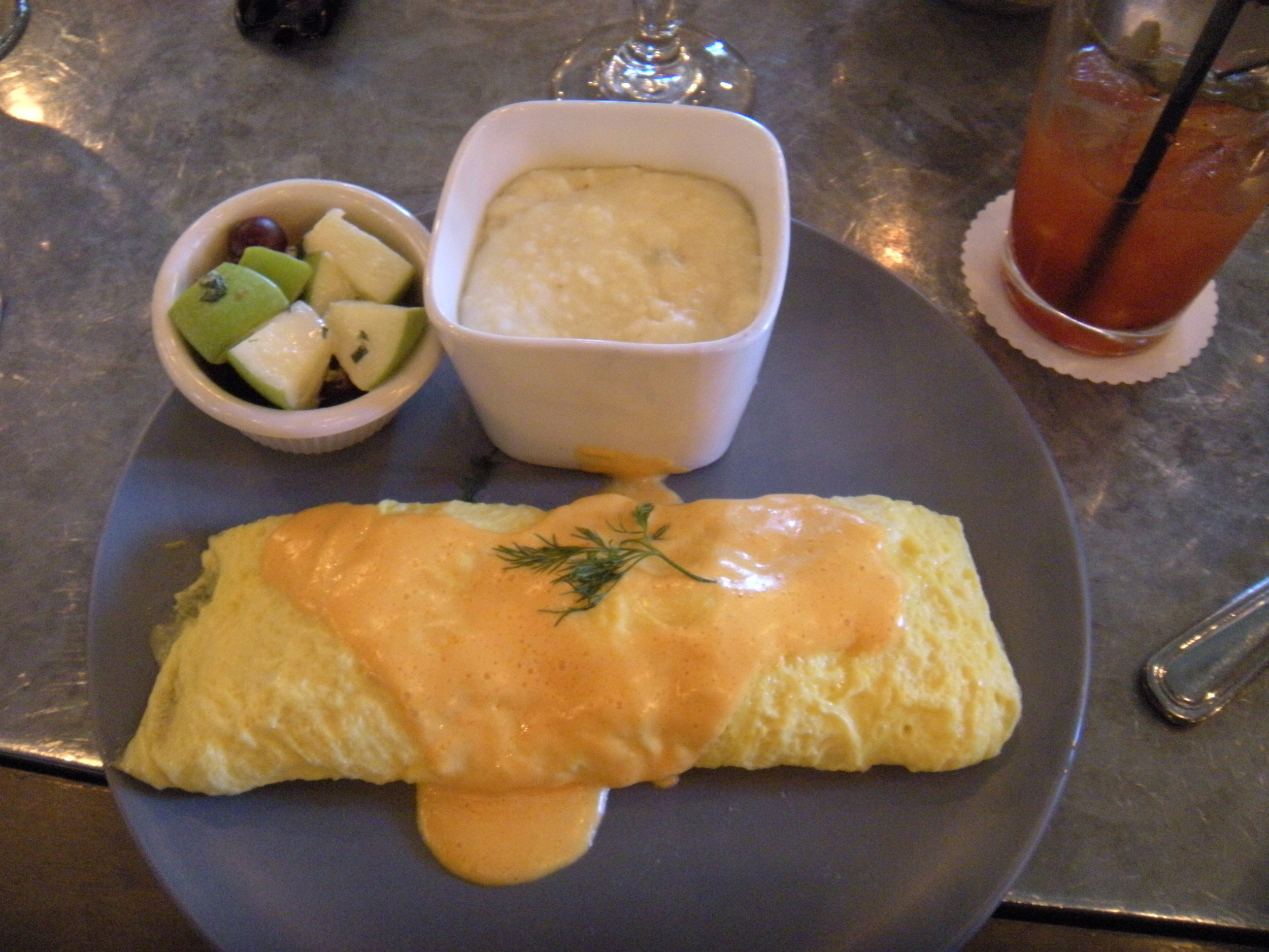Brunch:  salmon omelette, fruit, cheesy grits--and of course, what's left of the bloody Mary.