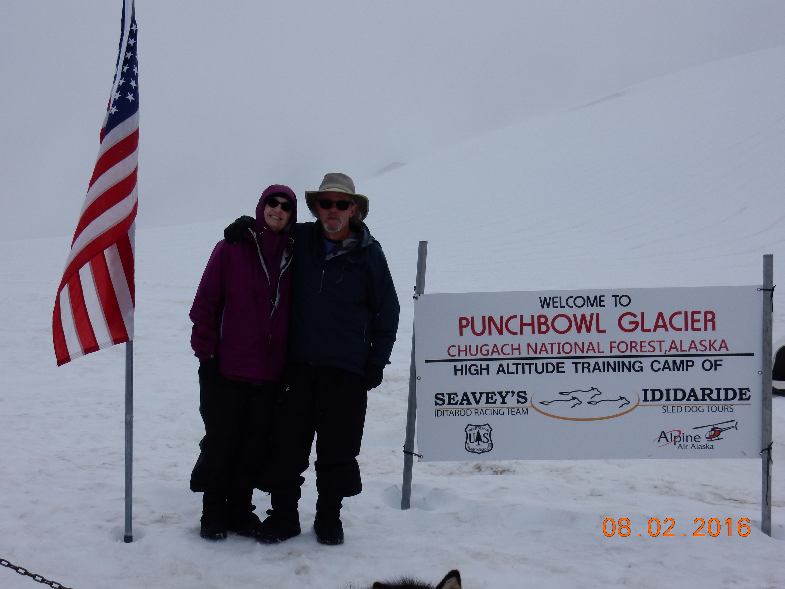 Photo op. Yes, we were really on this glacier learning about dog sledding. I did not make this up.
