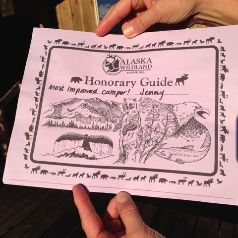 """On our last night at the lodge, Elias, our guide, asked us to meet for a """"ceremony."""" Knowing he was going to advise about tipping practices in Alaska, I teased by asking if it would be an awards ceremony. He made this especially for me."""