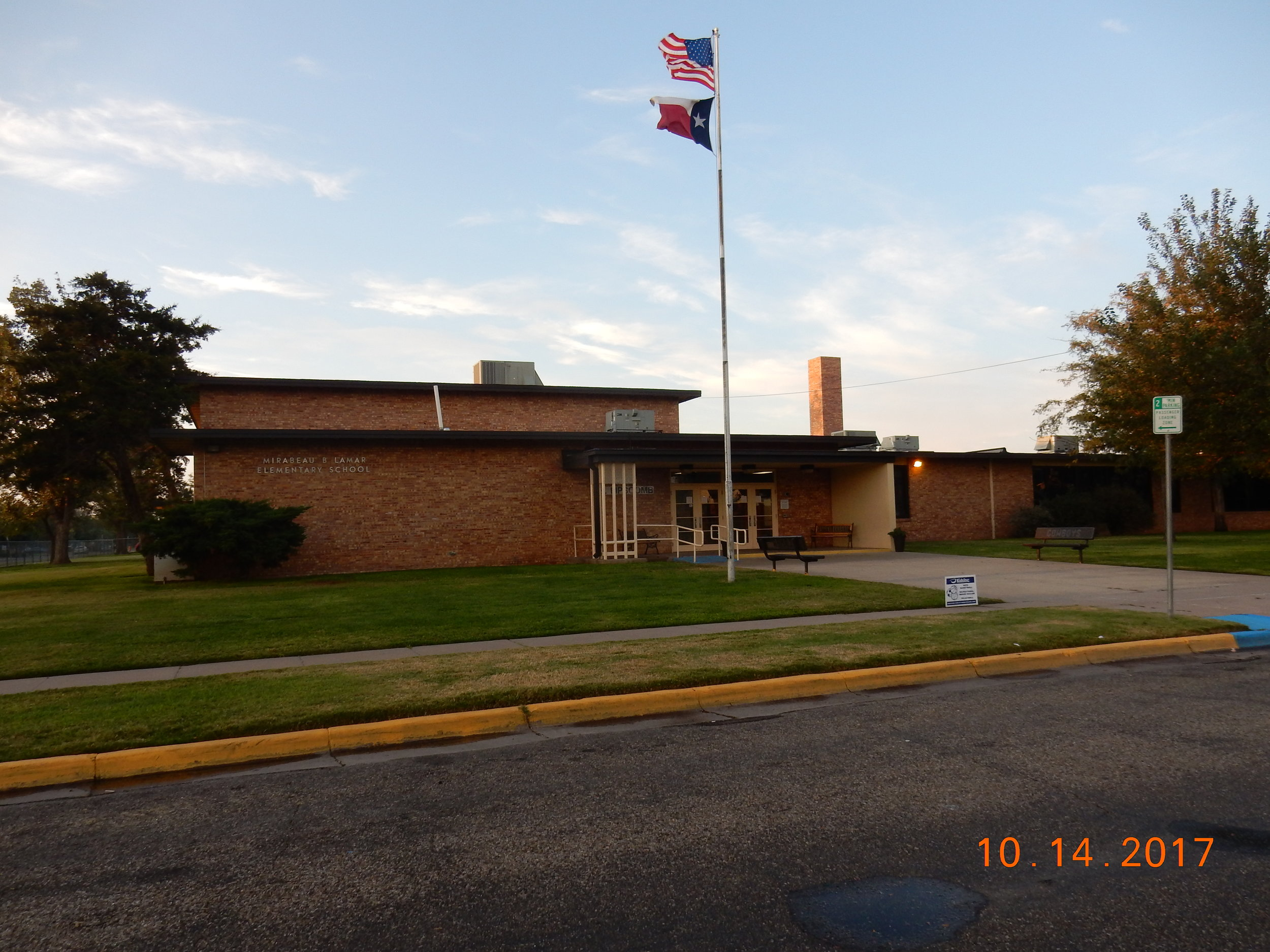 This is where I went to elementary school. Look at the flags. The only reason for this picture is to show that the wind blows all the time in Amarillo, Texas.