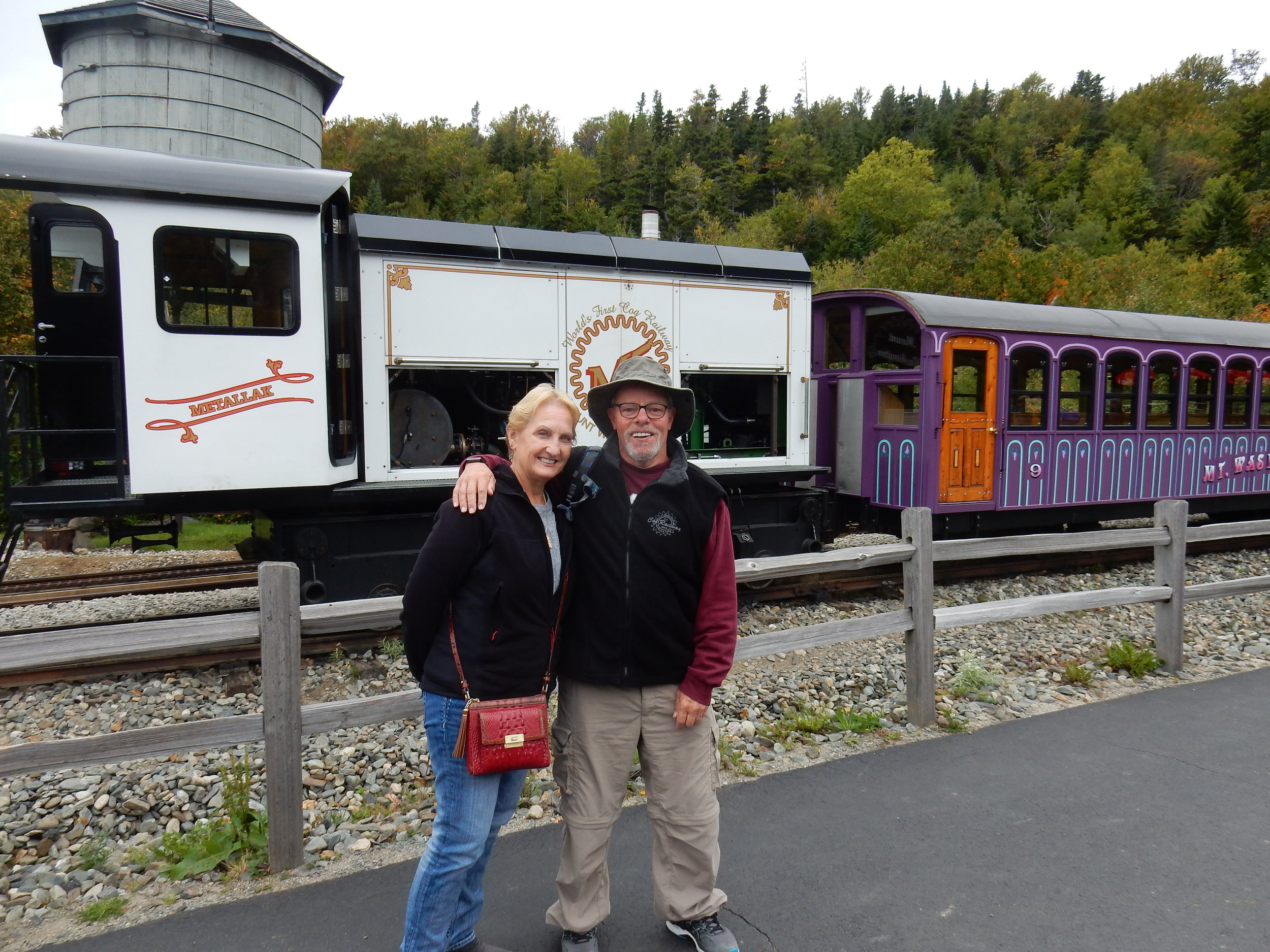 The two of us in front of the cog train at the bottom of Mount Washington. This was a fun and interesting excursion.