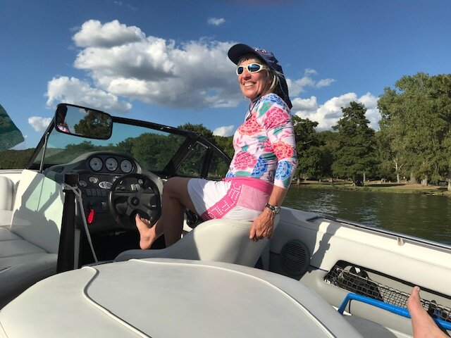 Mary Ann often steers with her foot! I'm sure this must be against all boating rules!