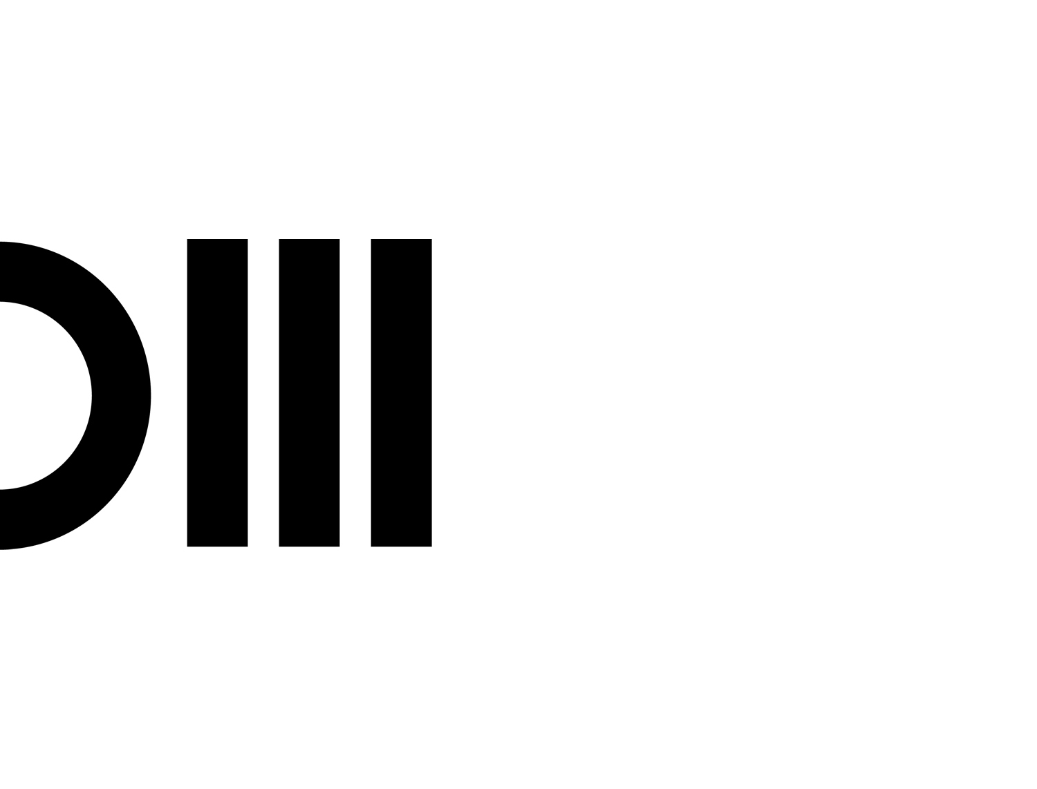 The logotype can be read both as »DM« and a binary code (0111)