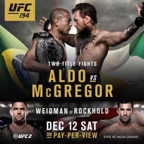 #UFC194 watch as @TheNotoriousMMA takes on @josealdojunior!                      Come to our location to watch the incredible battle! #UFCFightNight