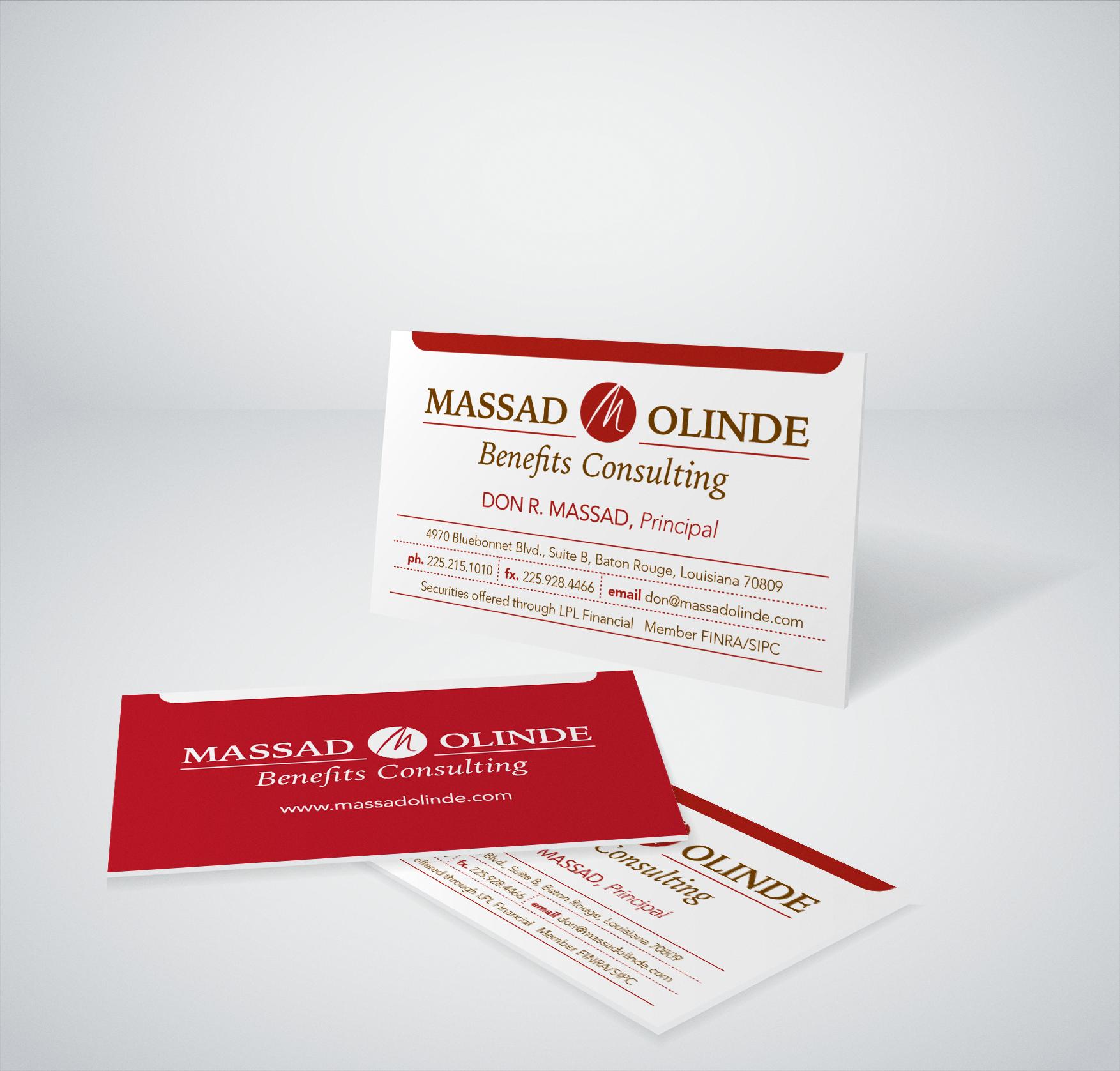 Massad Olinde Business Card Design created for Diane Allen and Associates