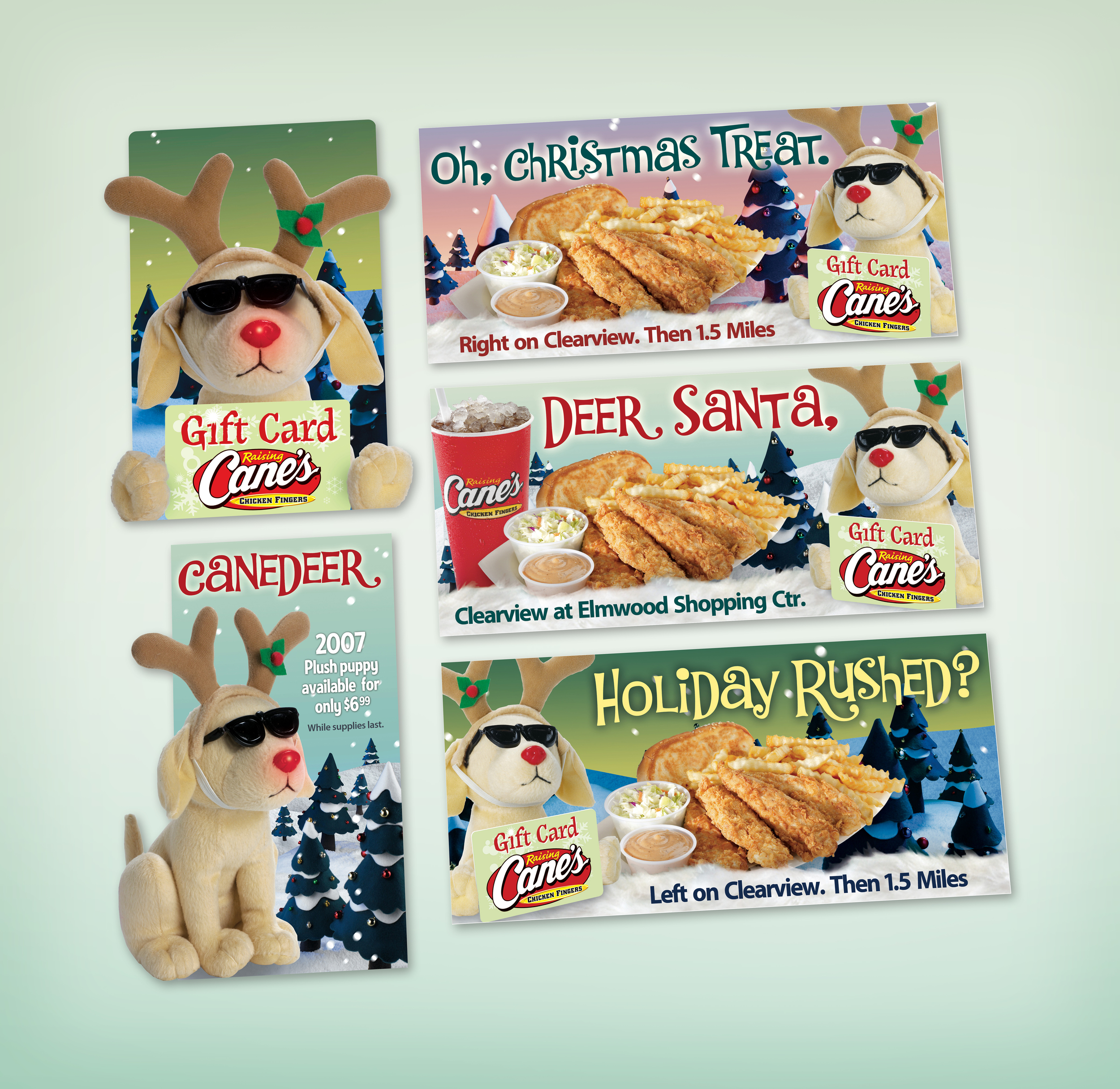 Raising Cane's Holiday Plush Puppy promotion  created for Diane Allen and Associates