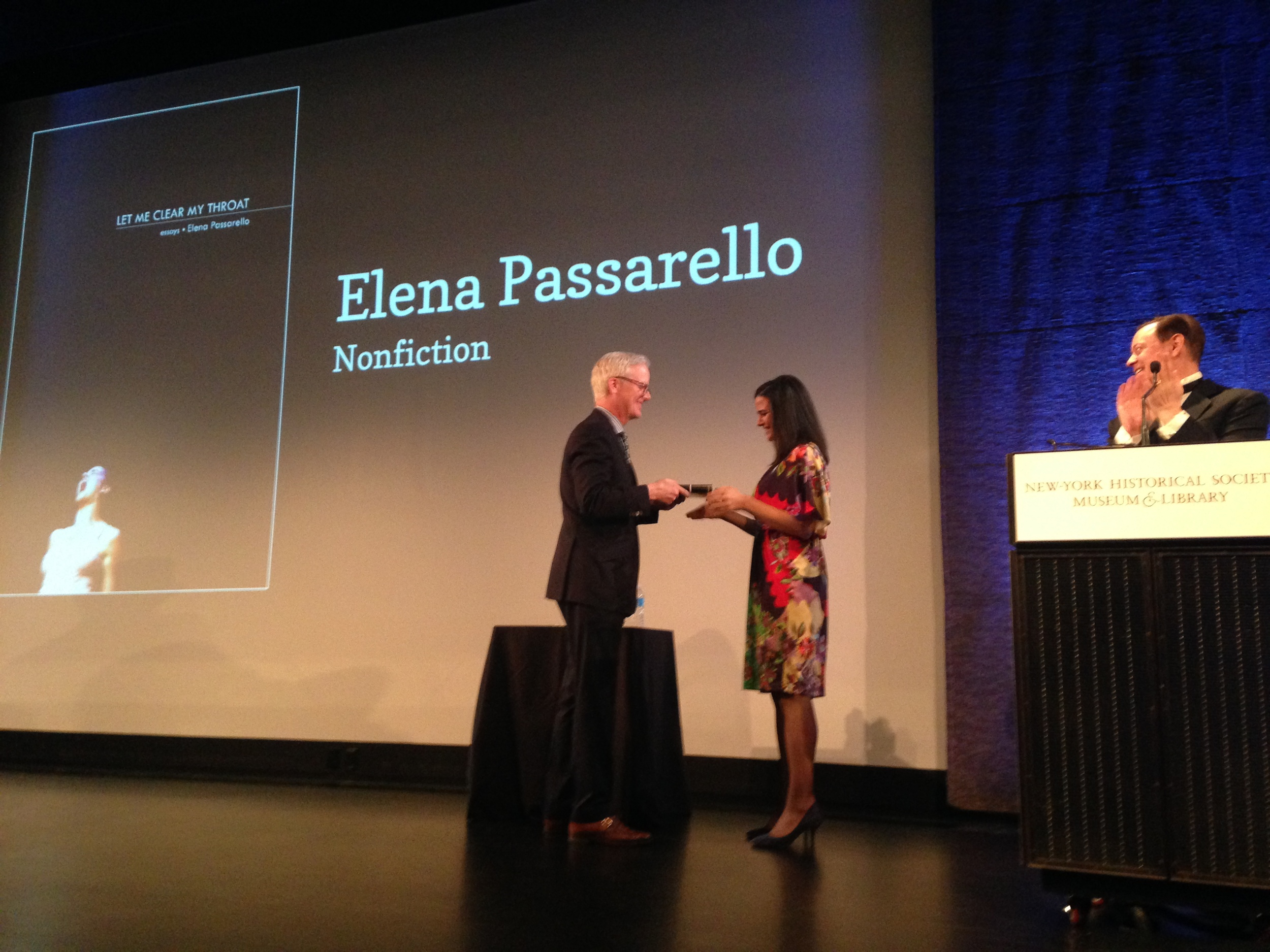 Elena Passarello accepts her award at the New York Historical Society on March 5, 2015