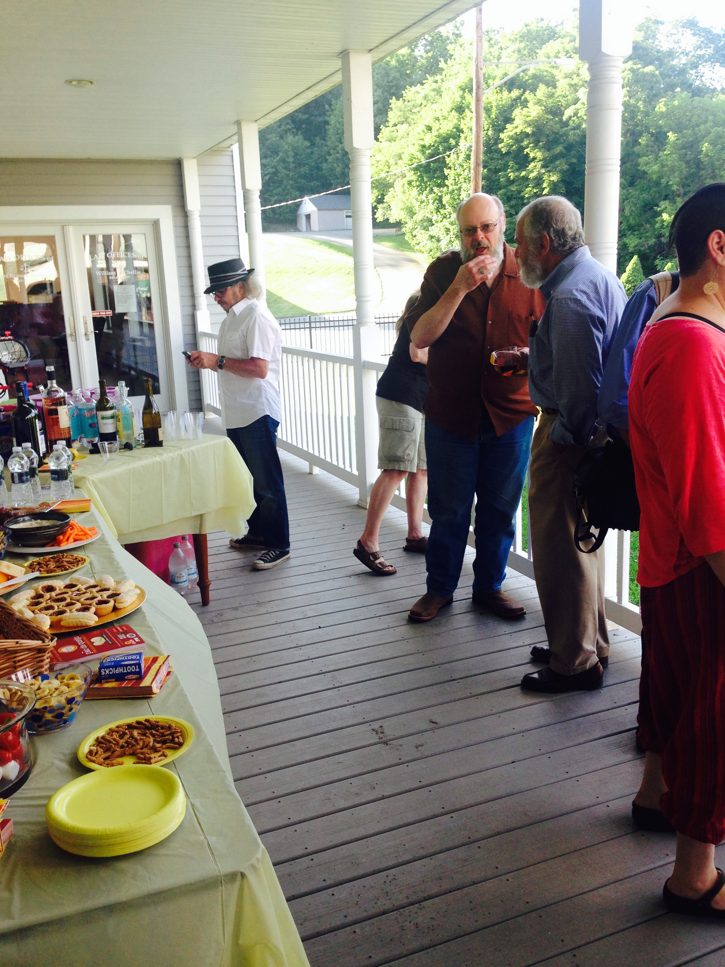 The reception on the wrap-around porch was jammed with talented artists from the Catskills and downstate New York.