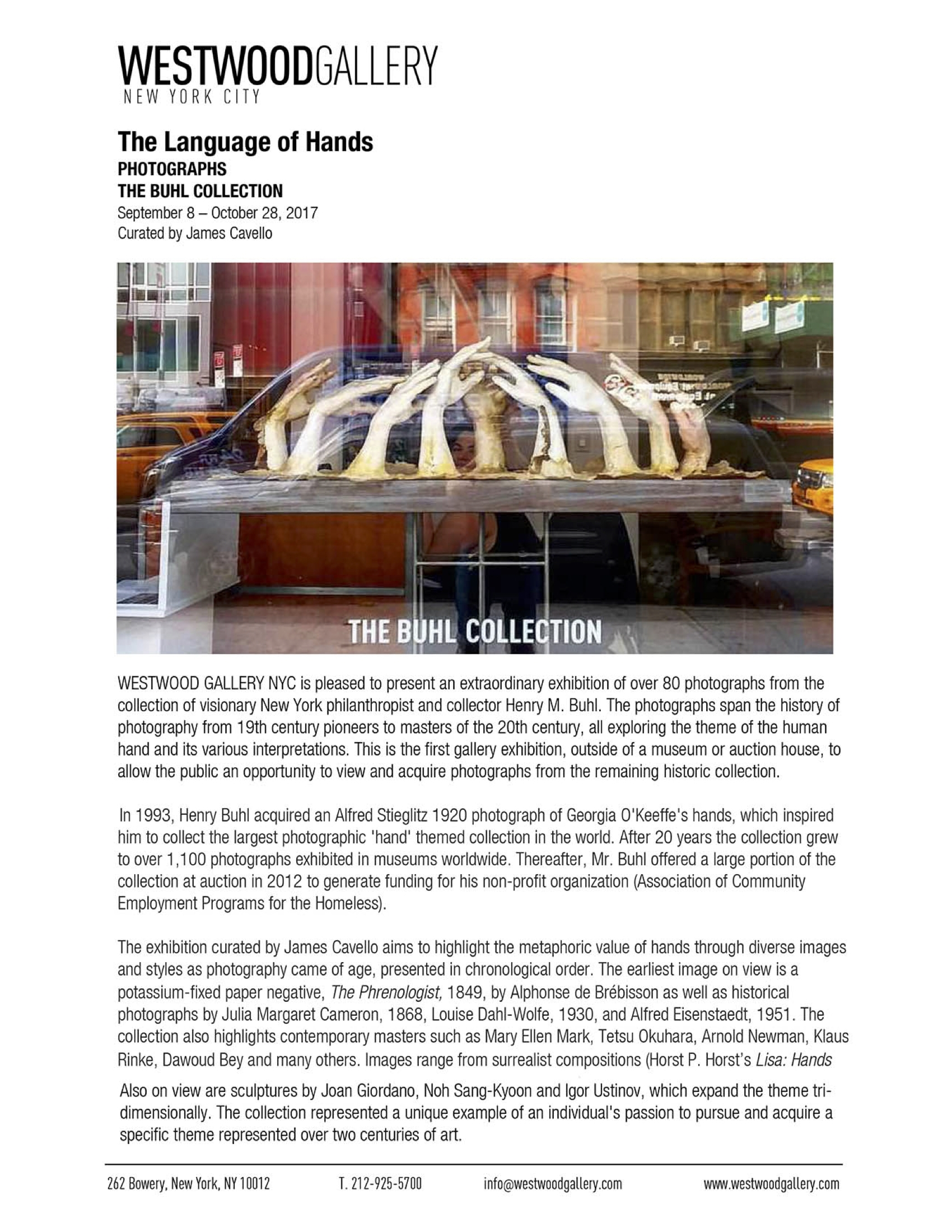 WESTWOOD GALLERY NYC_Press release_The Buhl Collection_Joan Giordano.jpg