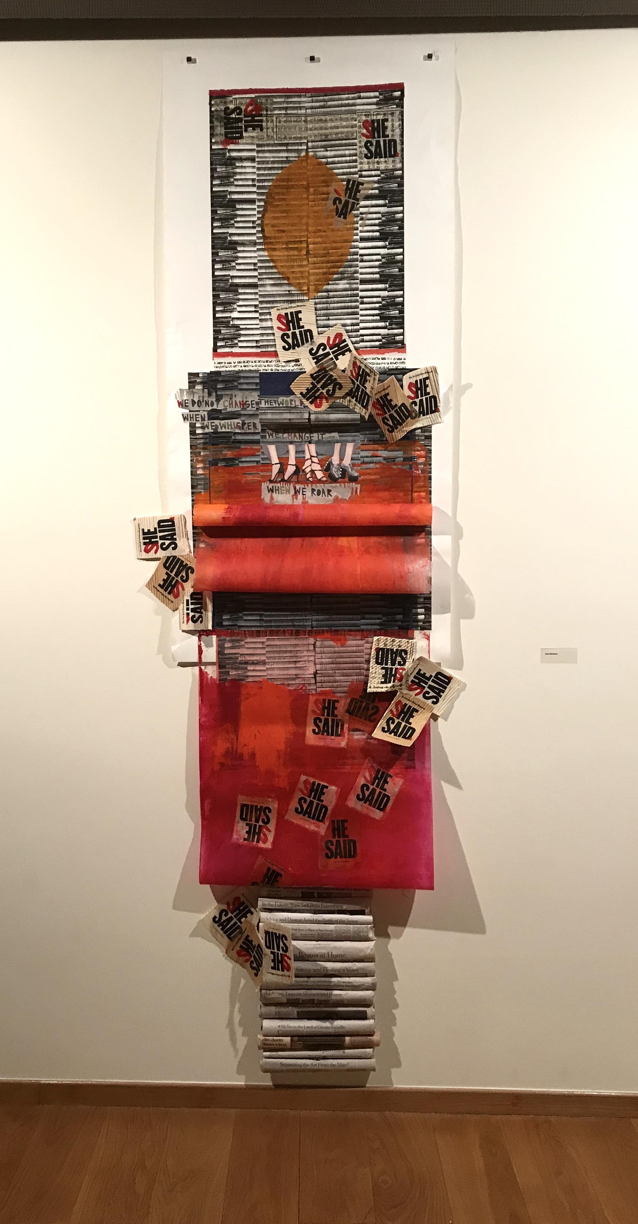 """Joan Giordano's Mixed Media Sculpture """"  SHE,"""" 96""""x25""""x5"""", 2018"""