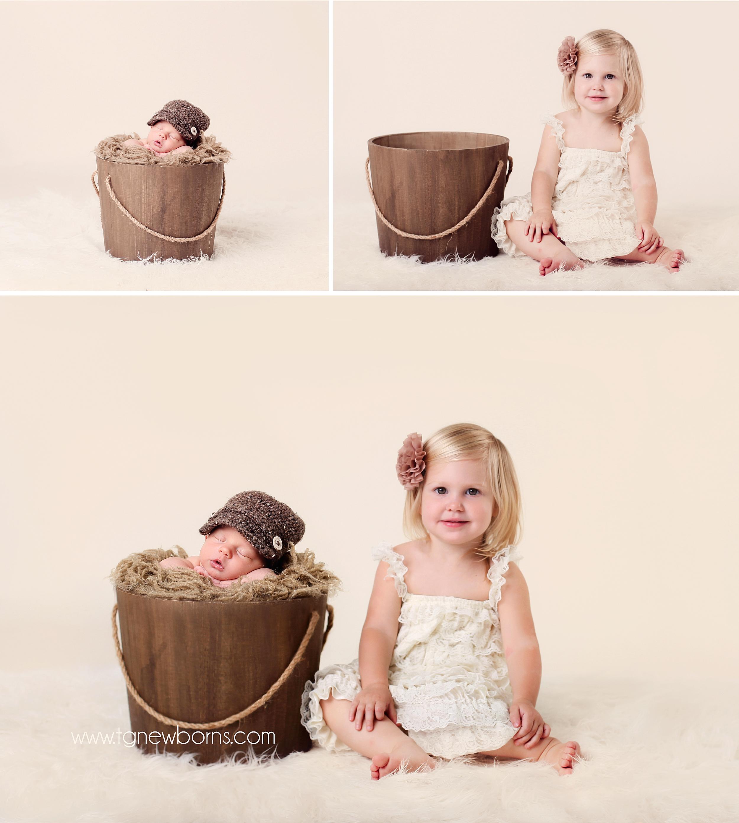 posing newborn with siblings
