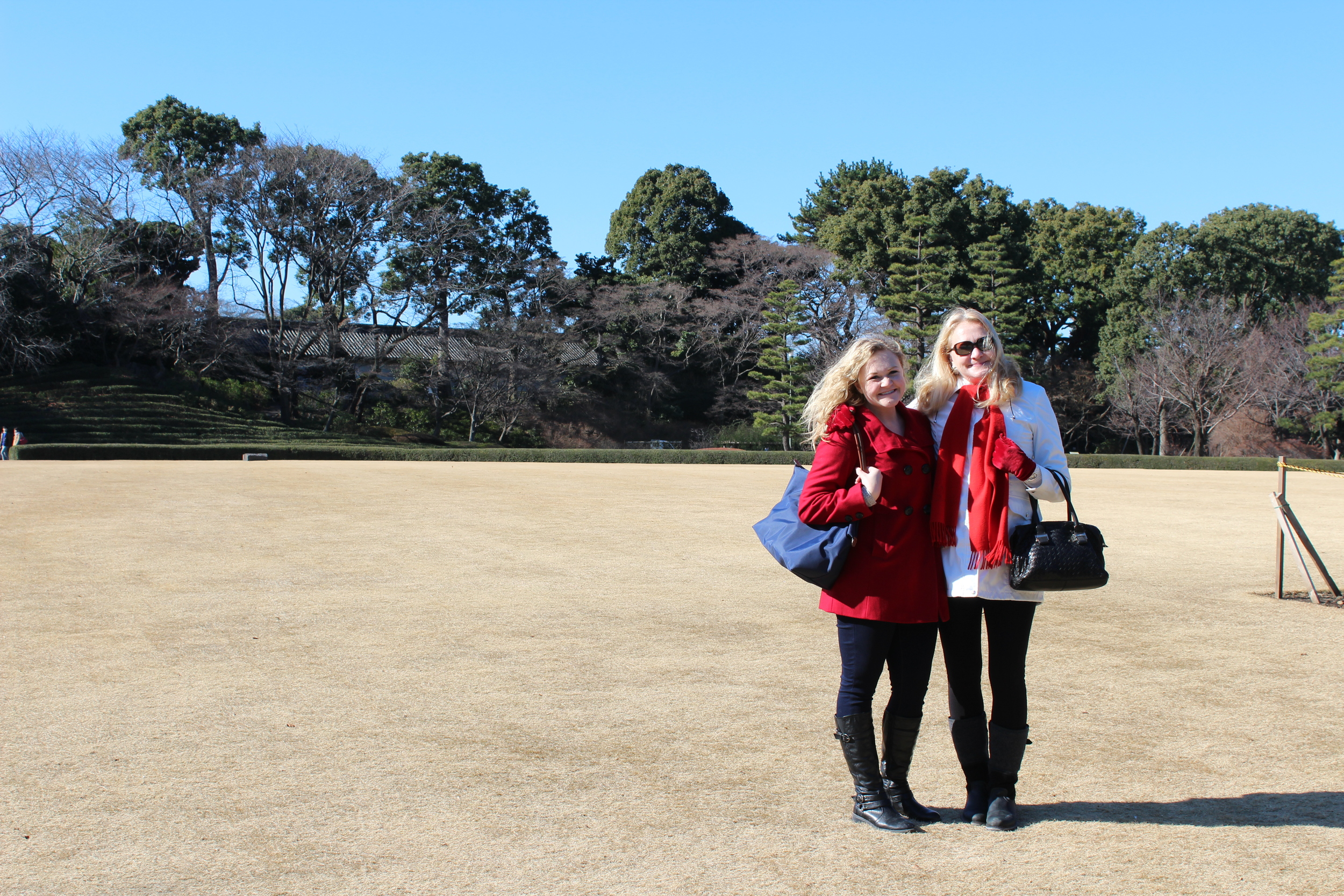 My mom and I standing in the gardens of the Imperial Palace.