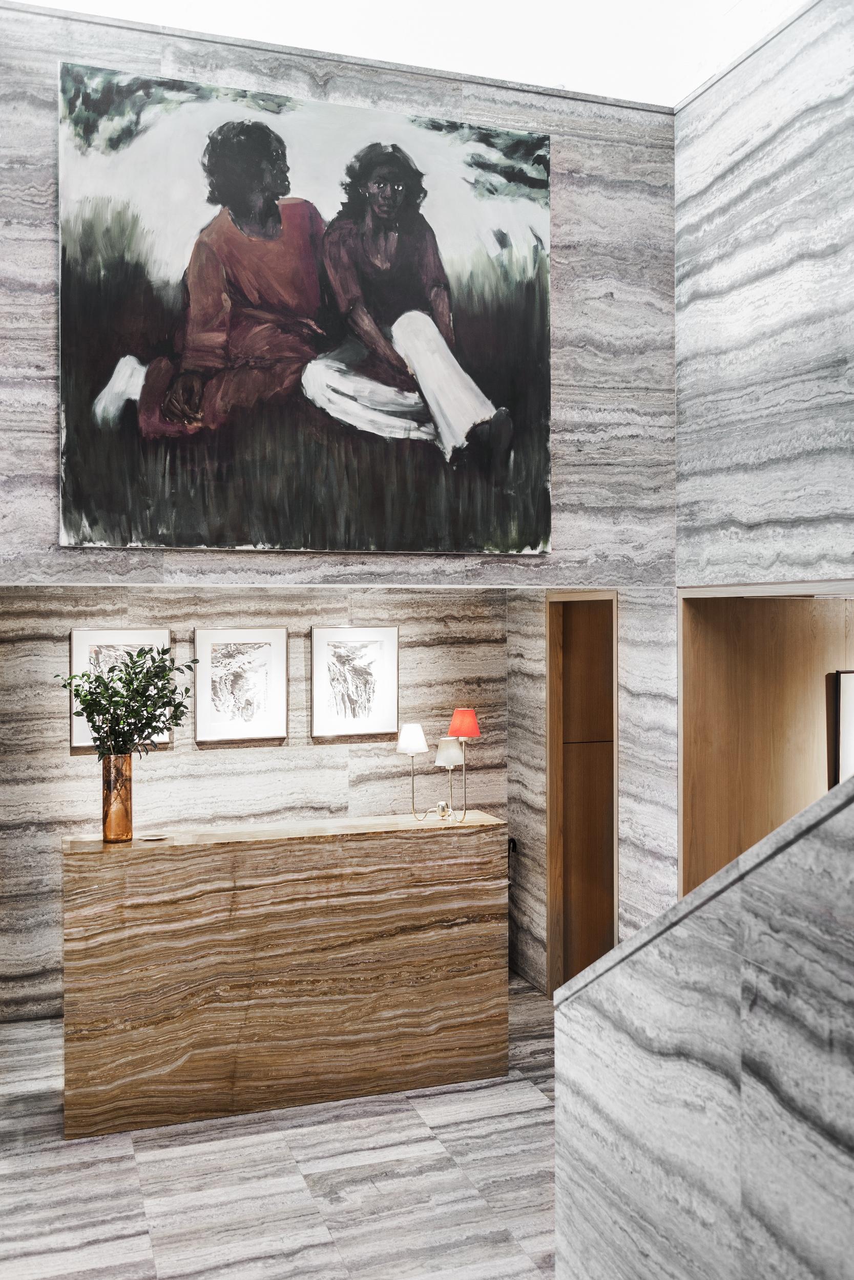 Absolutely marblelous... walls, stairs, floors and reception desk are encased in sleek travertine