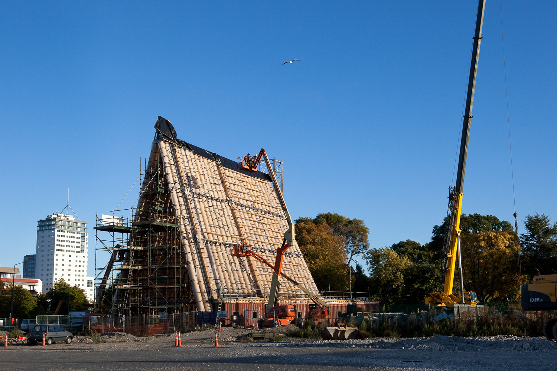 Cranes assist in construction