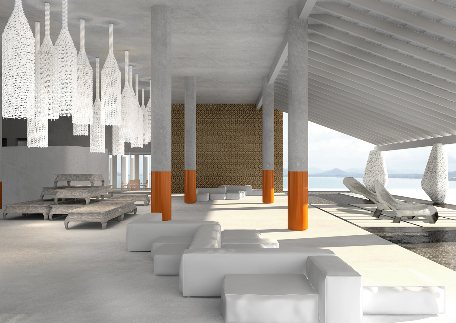 Boasting stellar sea views, this alfresco lounge blends white decor with burnt-orange hits on pillars, a nod to the sun and Buddhist robes. A pyramid of Thai wooden beds and woven details up the wow factor