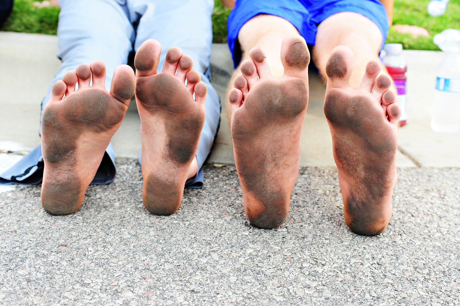 """These guys ran the National Ovarian Cancer Coalition 5k without any shoes on. They were preparing for a """"Barefoot Run."""""""